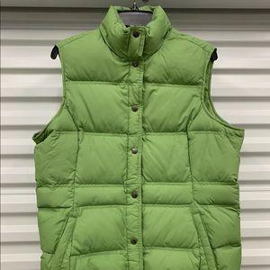 Lands End Womens L 14-16 Green Vest Puffer